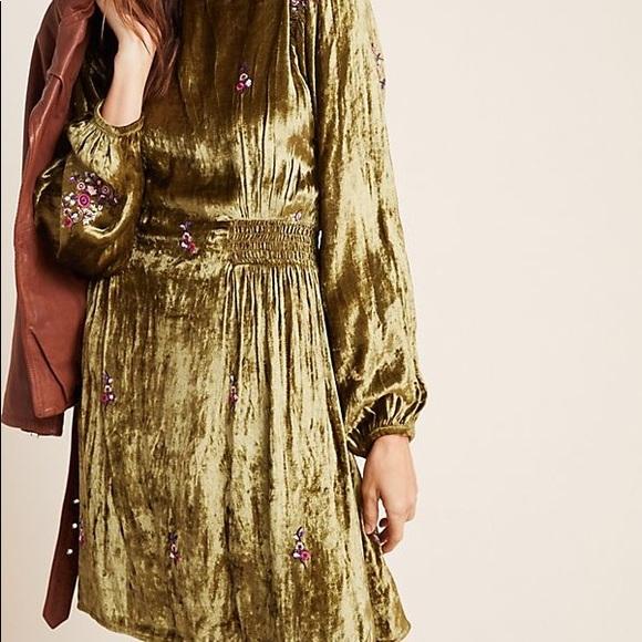 ANTHROPOLOGIE  EMBROIDERED VELVET SHIFT DRESS size 12 new nwt